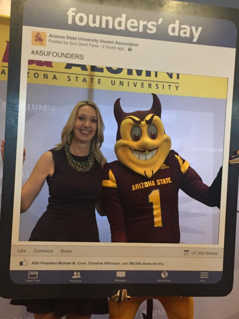Kristine Kassel and Sparky at ASU Founders Day